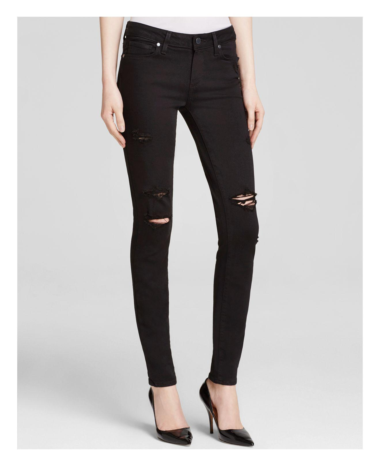 Paige Denim Destructed Verdugo Transcend Jeans In Black Shadow in ...