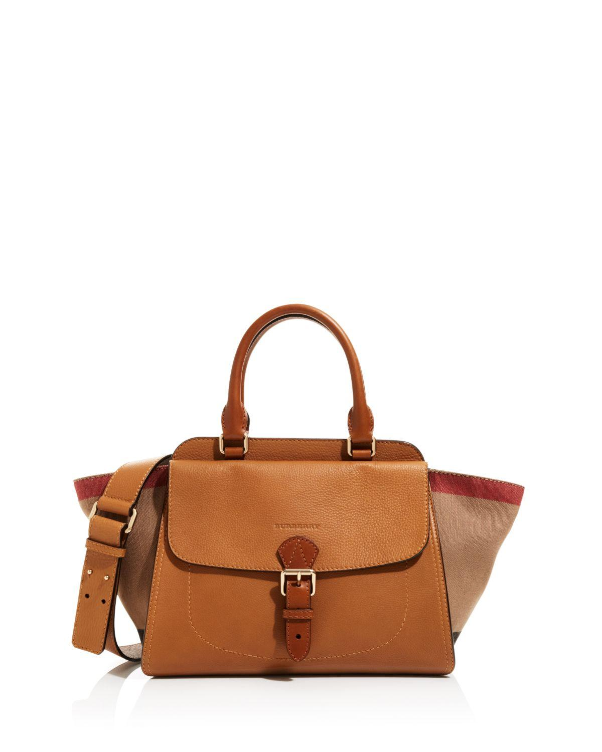 ... Tote Bag in Black  good looking cb2e3 32434 Lyst - Burberry Medium  Harcourt Canvas Check Satchel in Brow ... 0b8a3f9e68