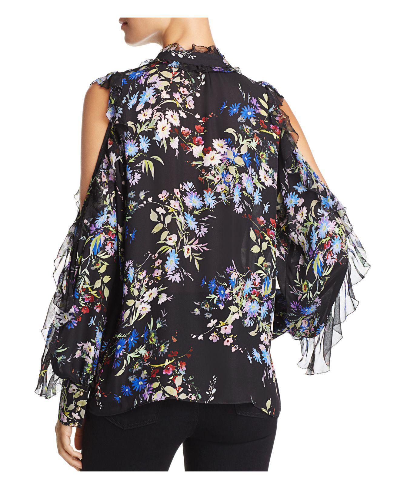 9abfa95918c171 Parker Elana Ruffled Floral-print Cold-shoulder Silk Top in Black - Lyst