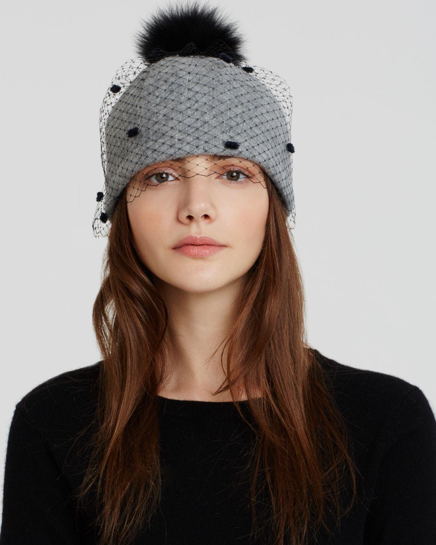 Helene berman Beanie Hat With Veil & Fox Fur Pom Pom in ...