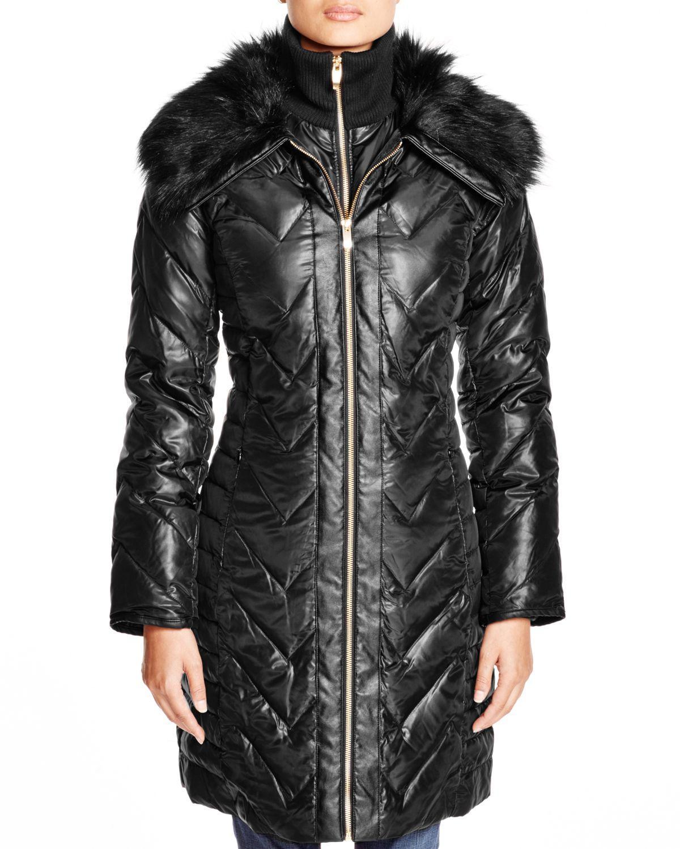 111f93d8507b Lyst - Via Spiga Faux Faux Fur Trim Chevron Puffer Coat in Black