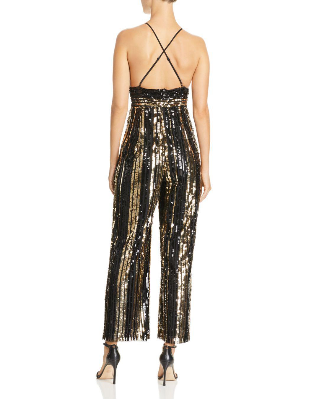6b796c48edca Bardot Goldie Sequin-stripe Jumpsuit in Metallic - Lyst
