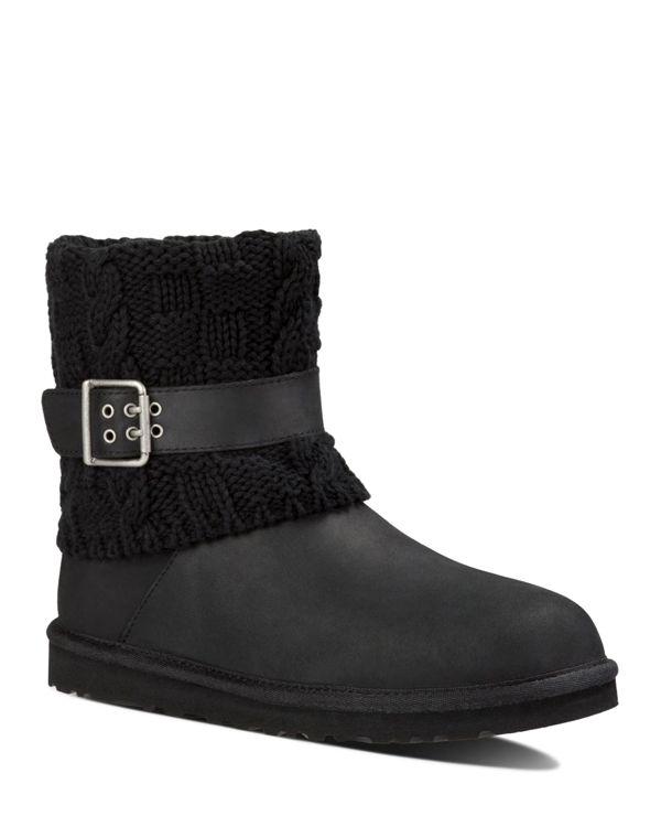 ugg 174 cassidee sweater cuff booties in black lyst