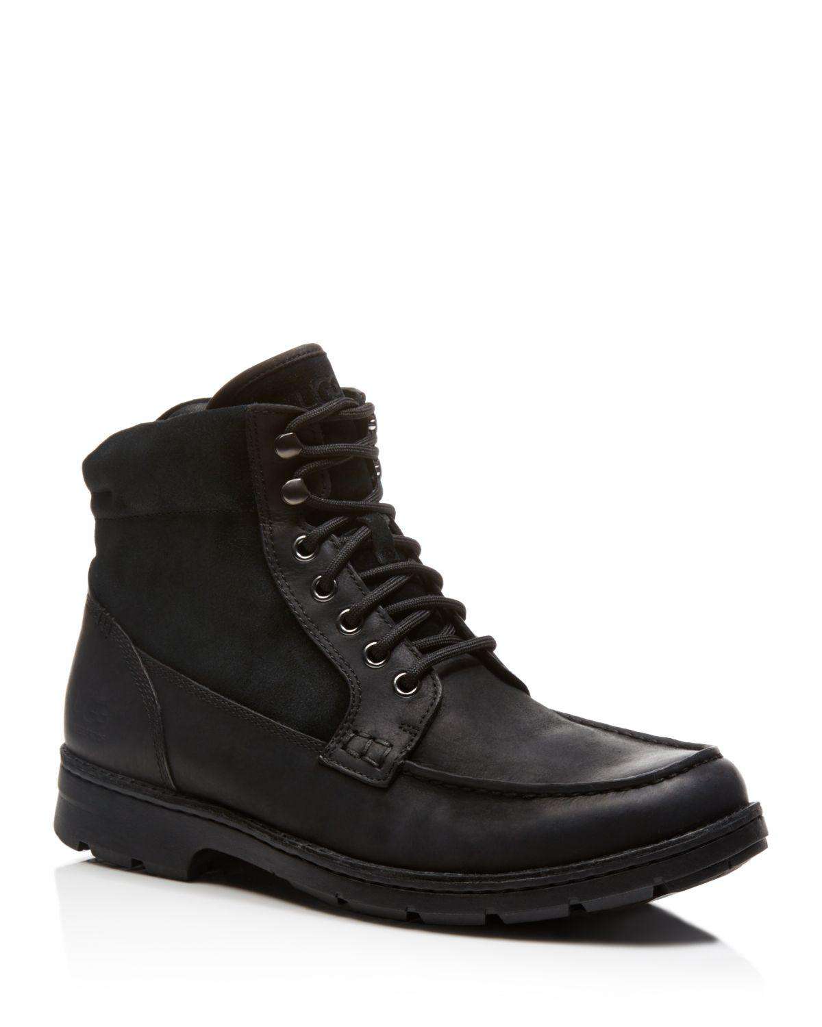 ugg australia barrington waterproof leather boots in black