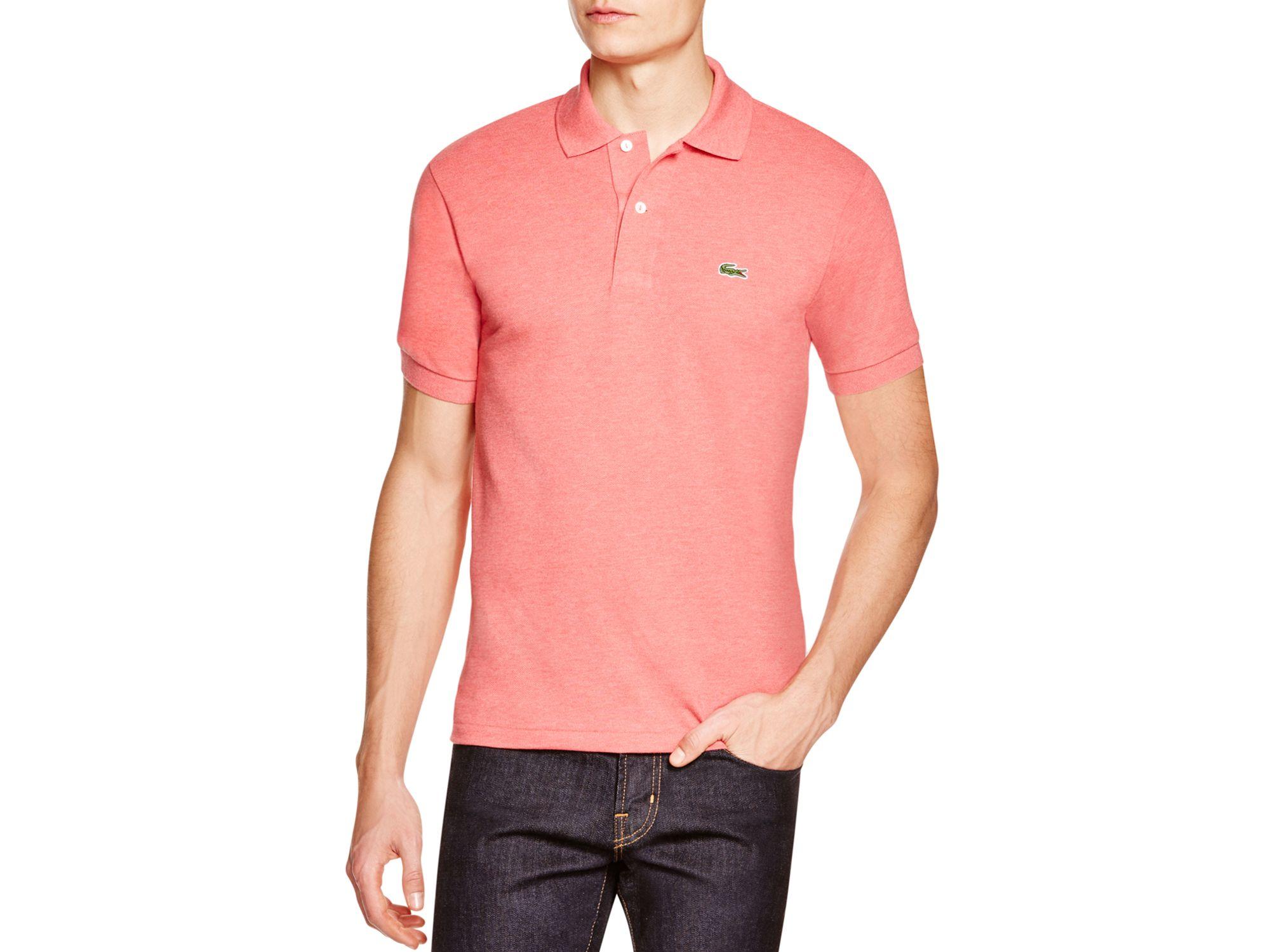 Lacoste short sleeve piqu polo shirt classic fit in for Short sleeve lacoste shirt