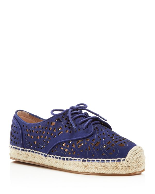 Vince camuto dinah lasercut lace up espadrilles in blue lyst