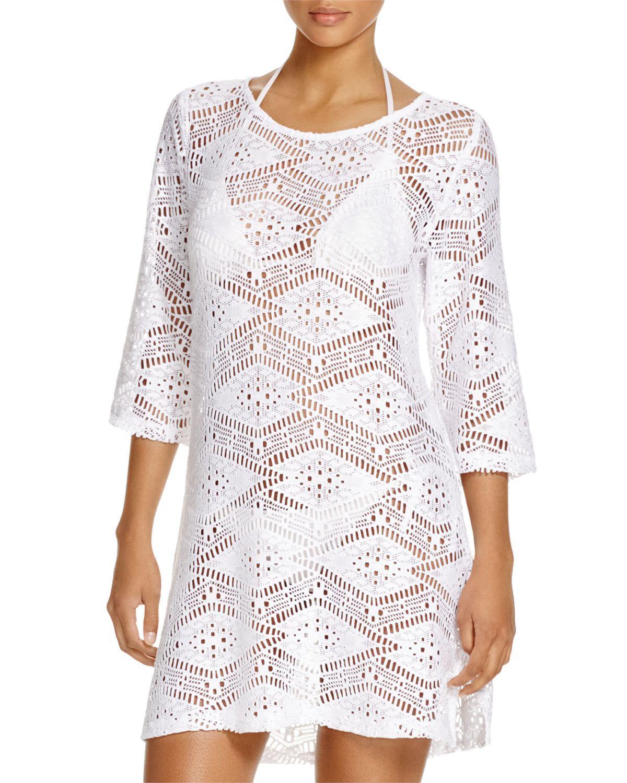 53028858b6 Lyst - J Valdi Diamond Lace Tunic Swim Cover-up in White