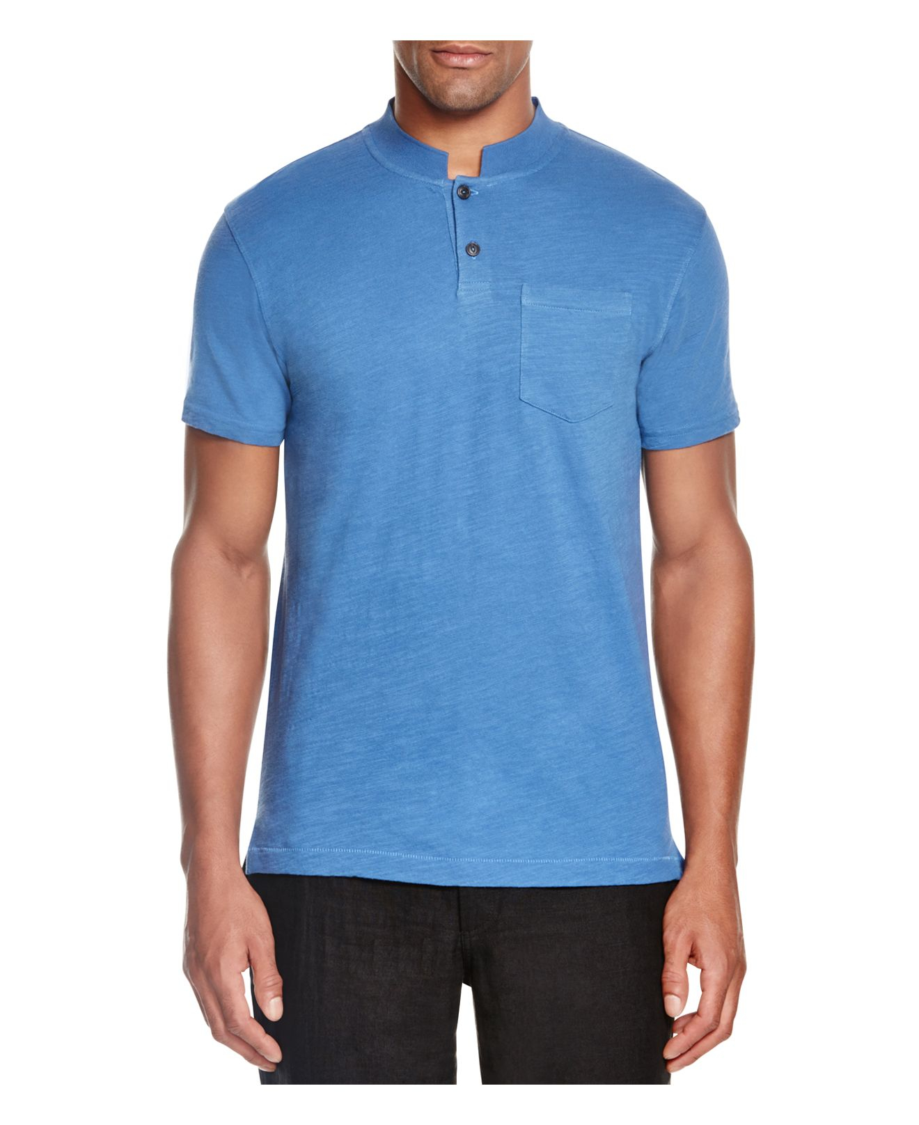 Lyst steven alan cropped collar slim fit polo shirt in for Cropped white collared shirt
