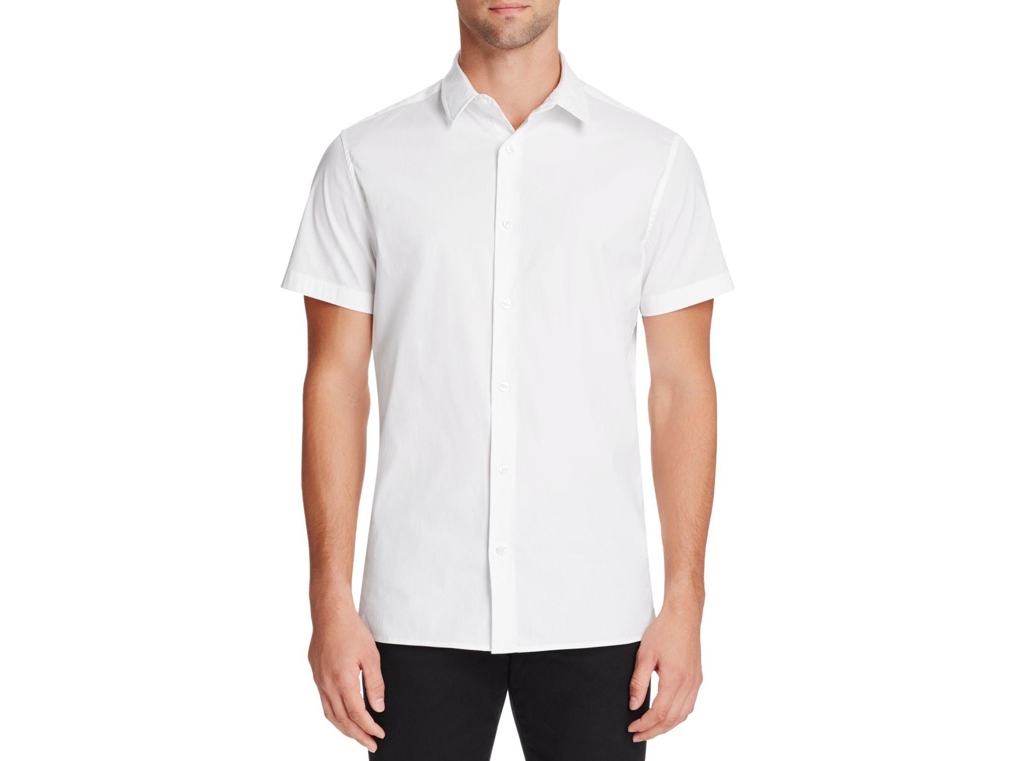 Vince manhattan short sleeve slim fit button down shirt in for White short sleeve button down shirts for men