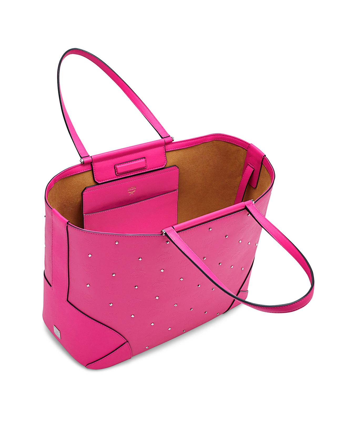MCM Canvas Claudia Studded Tote in Black (Pink)