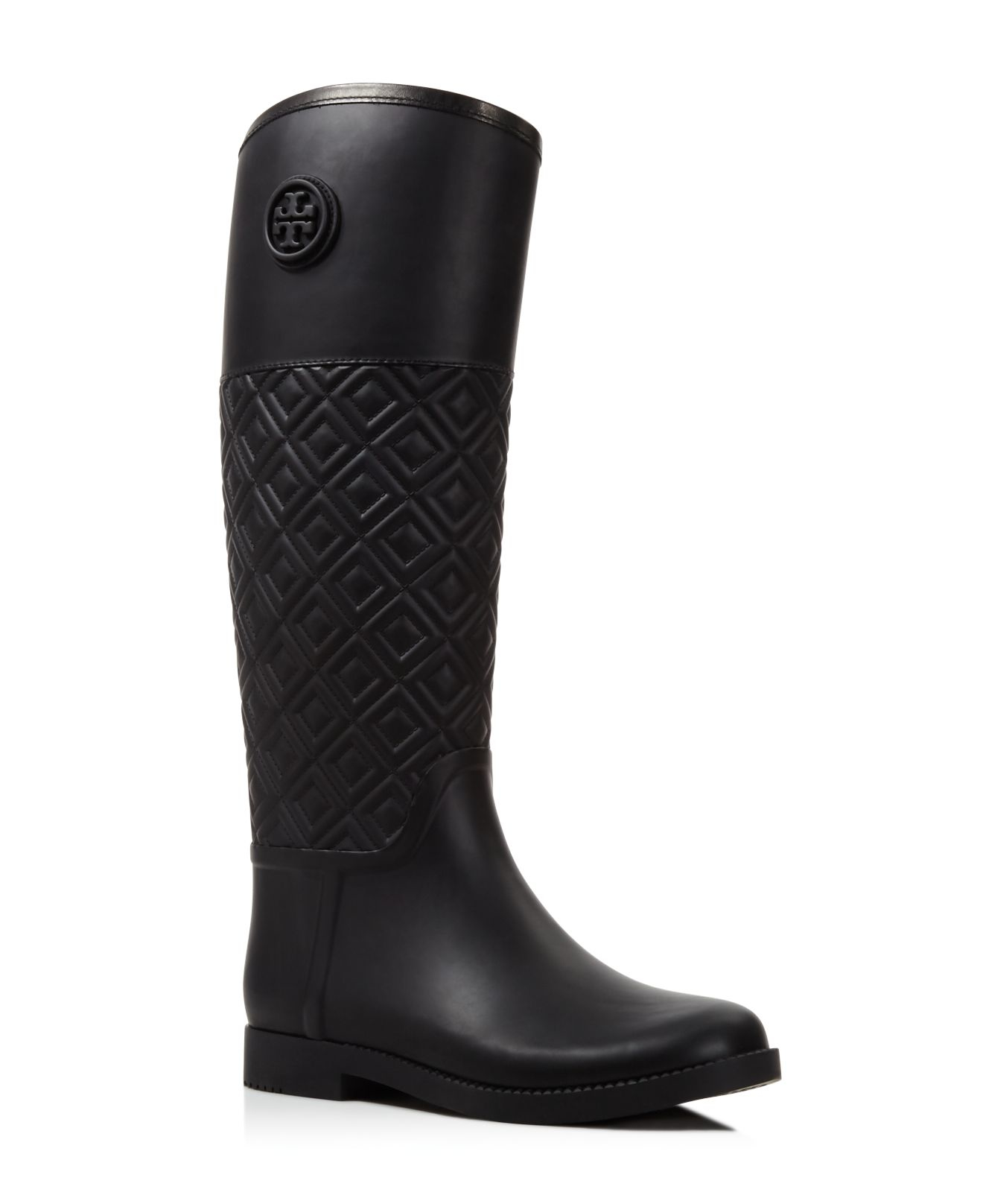 Tory burch Marion Quilted Rain Boots in Black | Lyst