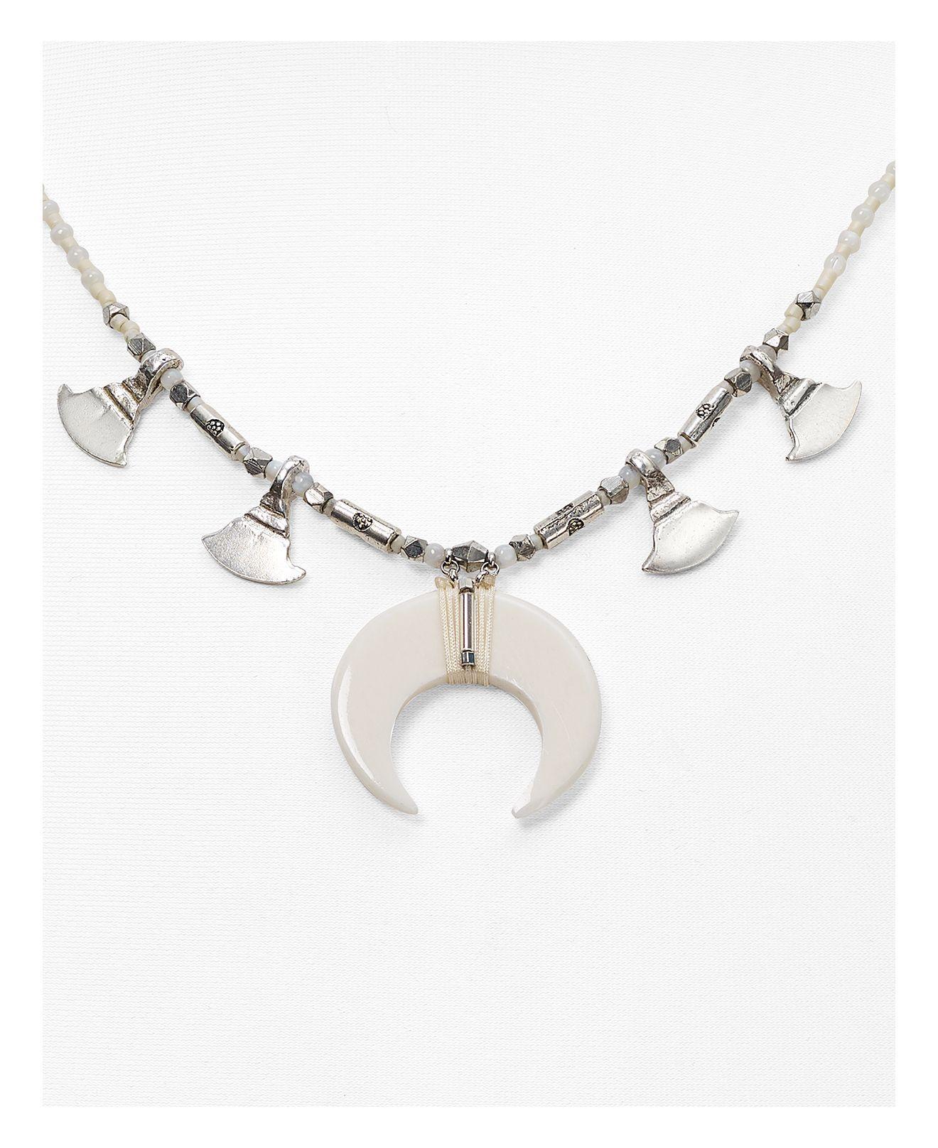 "Chan Luu Crescent Pendant Necklace, 16"" in White"