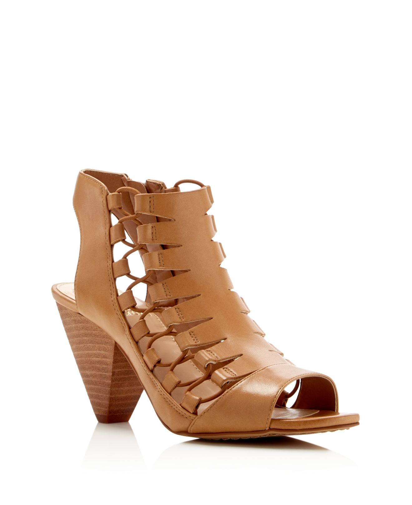 Vince Camuto Eliaz Caged Peep Toe Sandals In Beige Lyst
