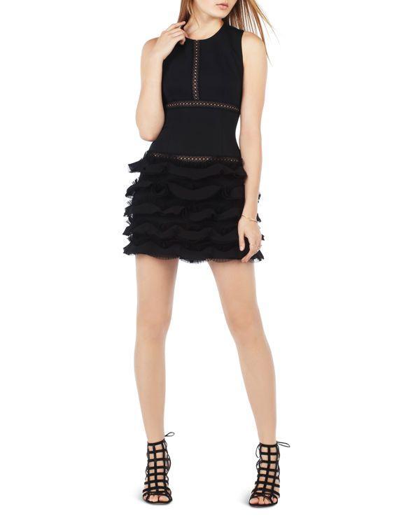 Bcbgmaxazria Ruffle Skirt Dress in Black | Lyst