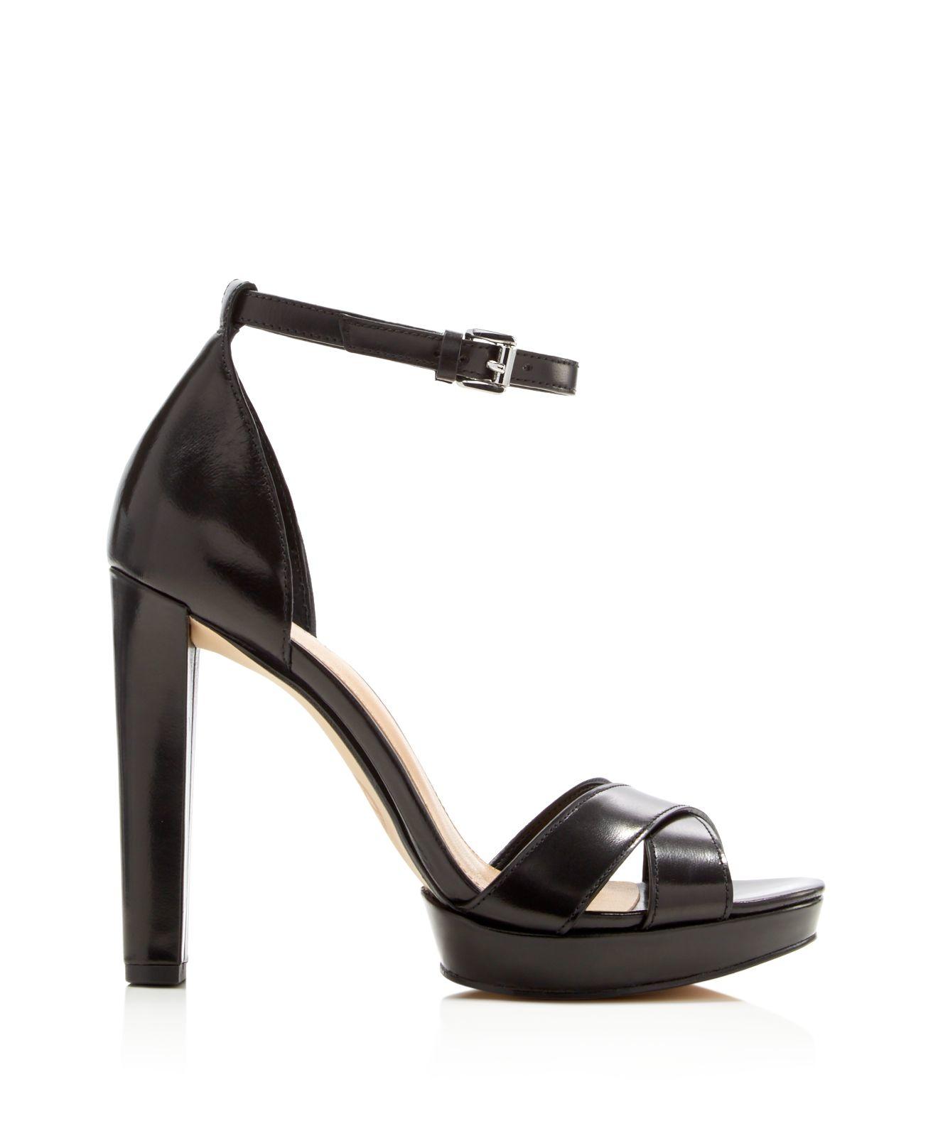 lyst michael michael kors divia ankle strap high heel sandals in black. Black Bedroom Furniture Sets. Home Design Ideas