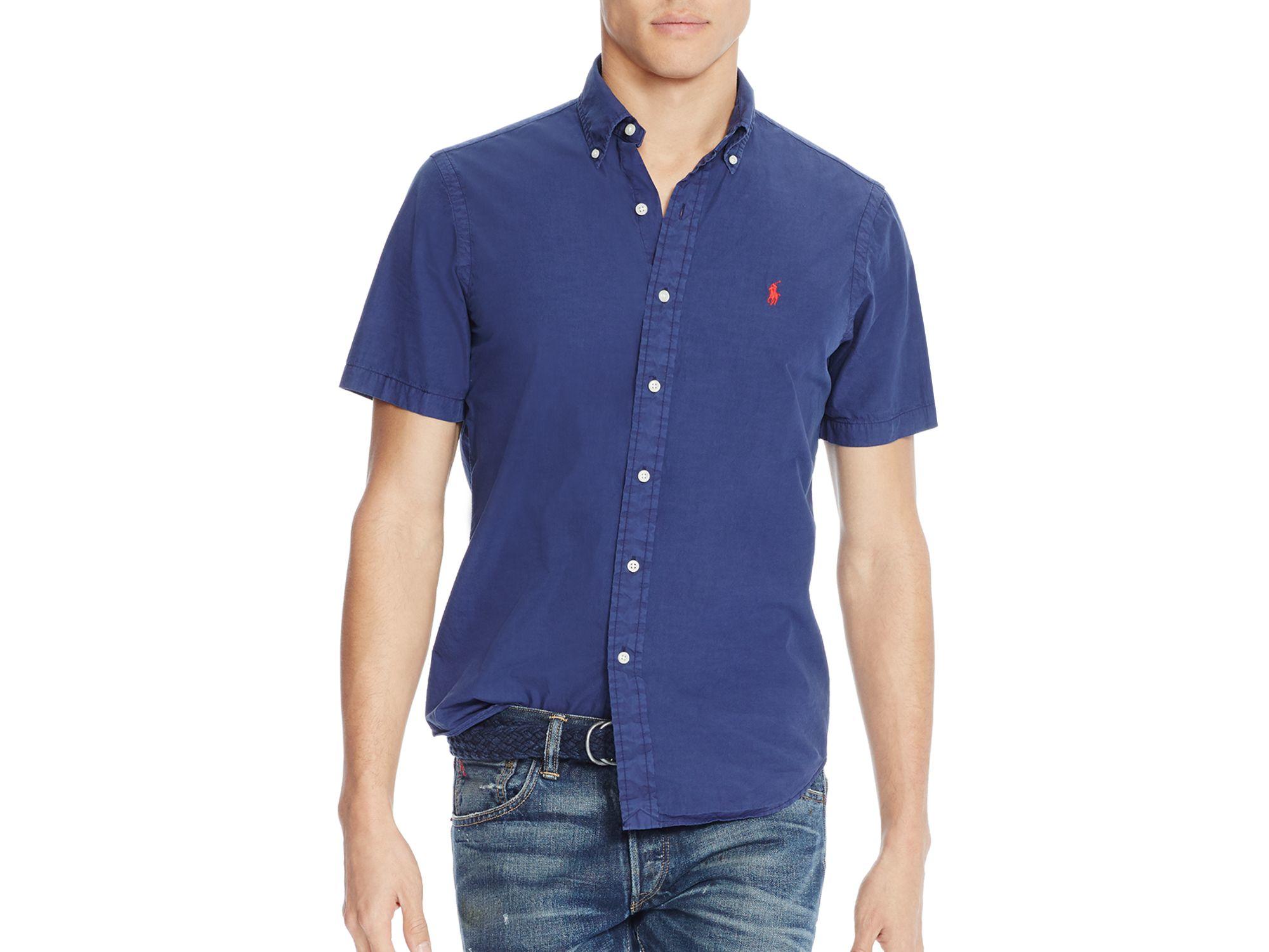 Polo ralph lauren cotton silk regular fit button down for Silk button down shirt