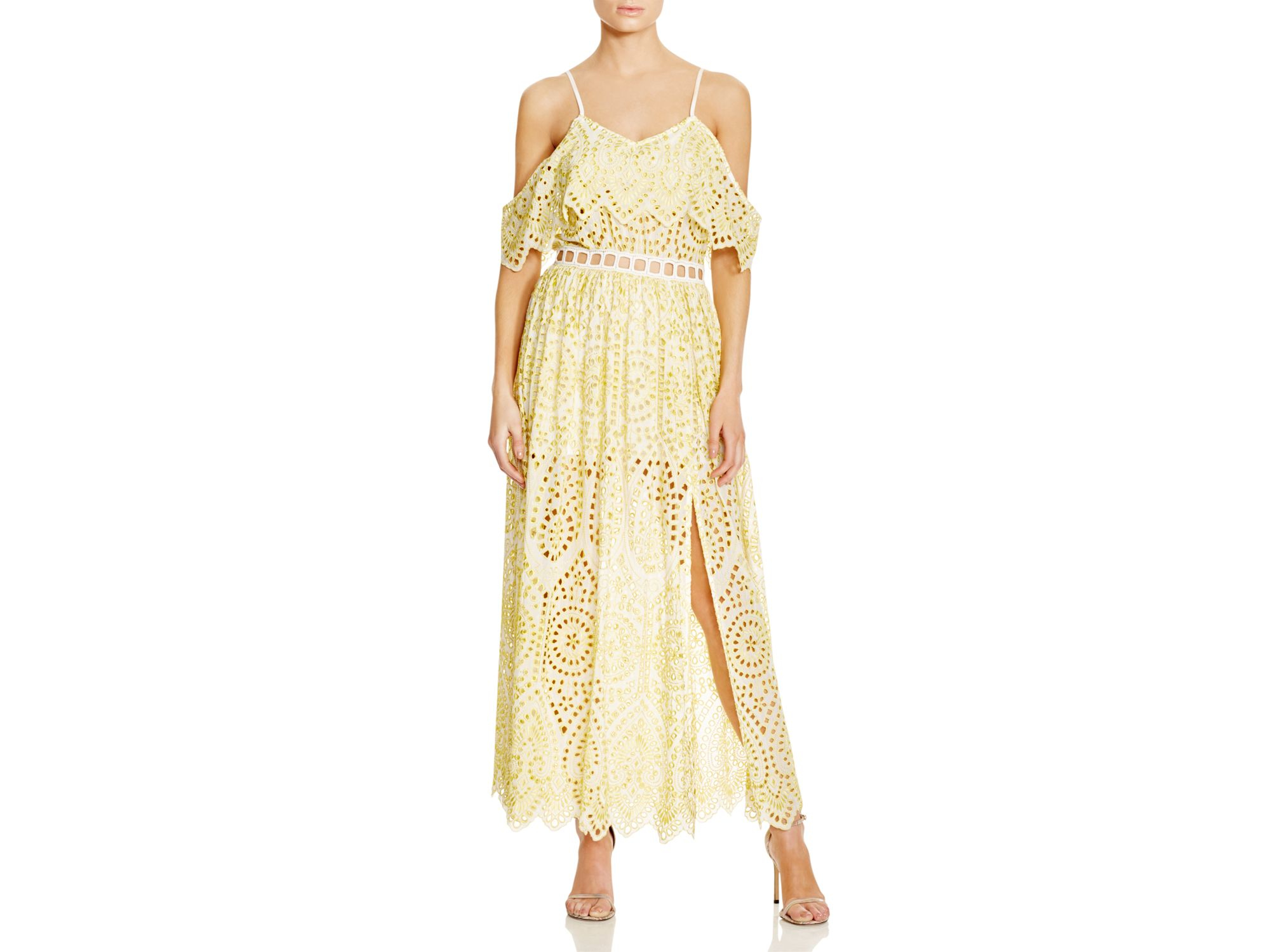 Foxiedox Quinn Eyelet Lace Maxi Dress in Yellow ...