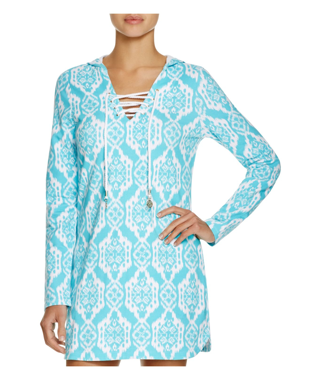 d08b35cd22813 Macbeth Collection Printed Hooded French Terry Tunic Swim Cover-up ...