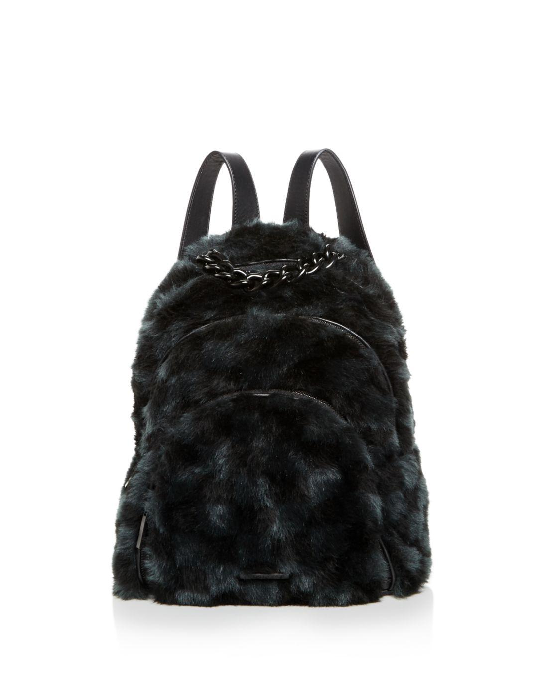 Kendall + Kylie. Women s Black Kendall And Kylie Sloane Checkered Faux-fur  Backpack 685bdb226b