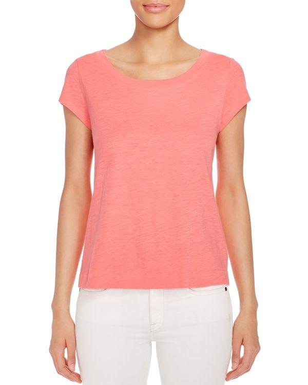 Eileen fisher organic cotton scoop neck tee in red lyst for Eileen fisher organic cotton t shirt