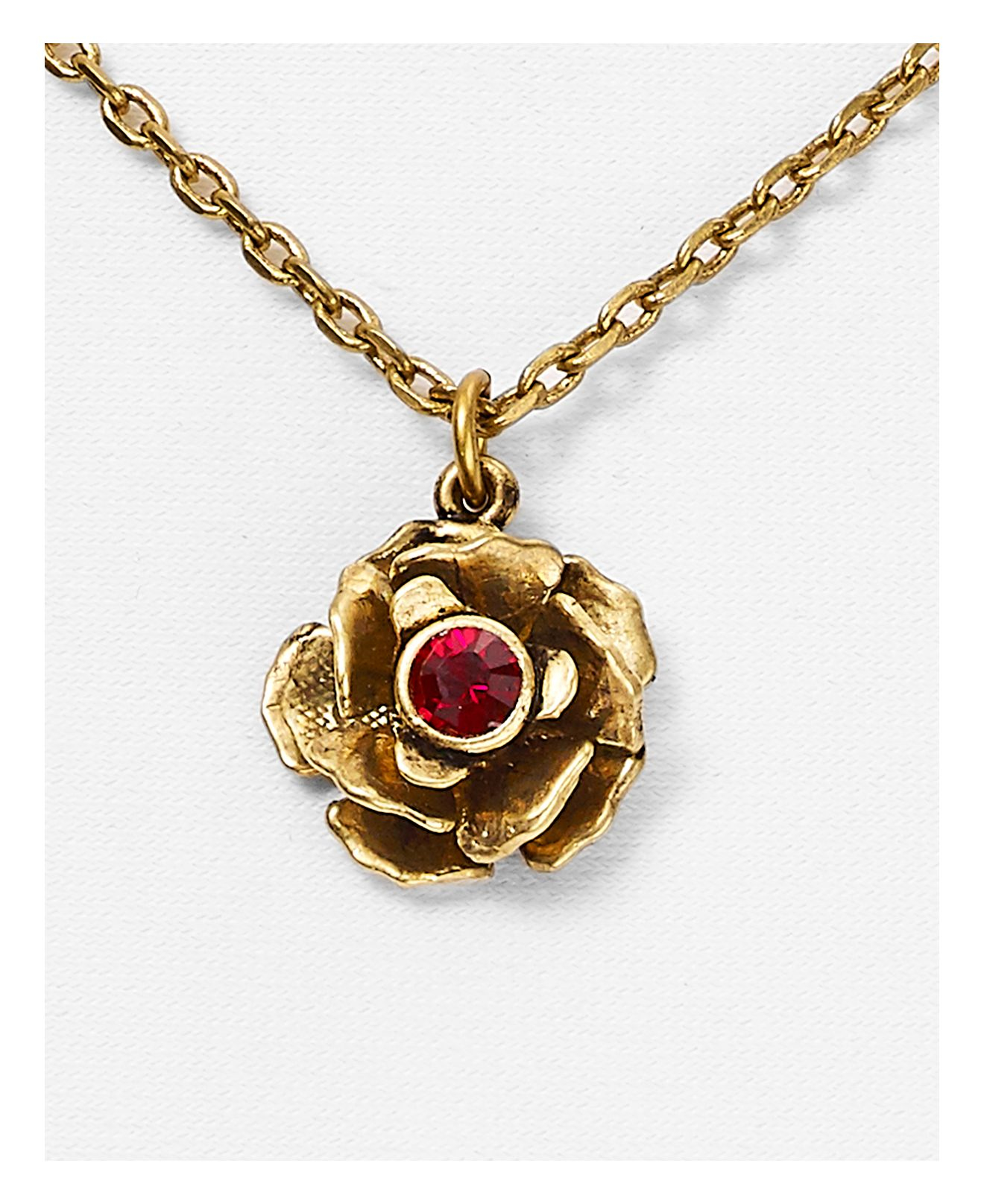 Marc Jacobs Small Flower Necklace in Red/Antique Gold (Metallic)