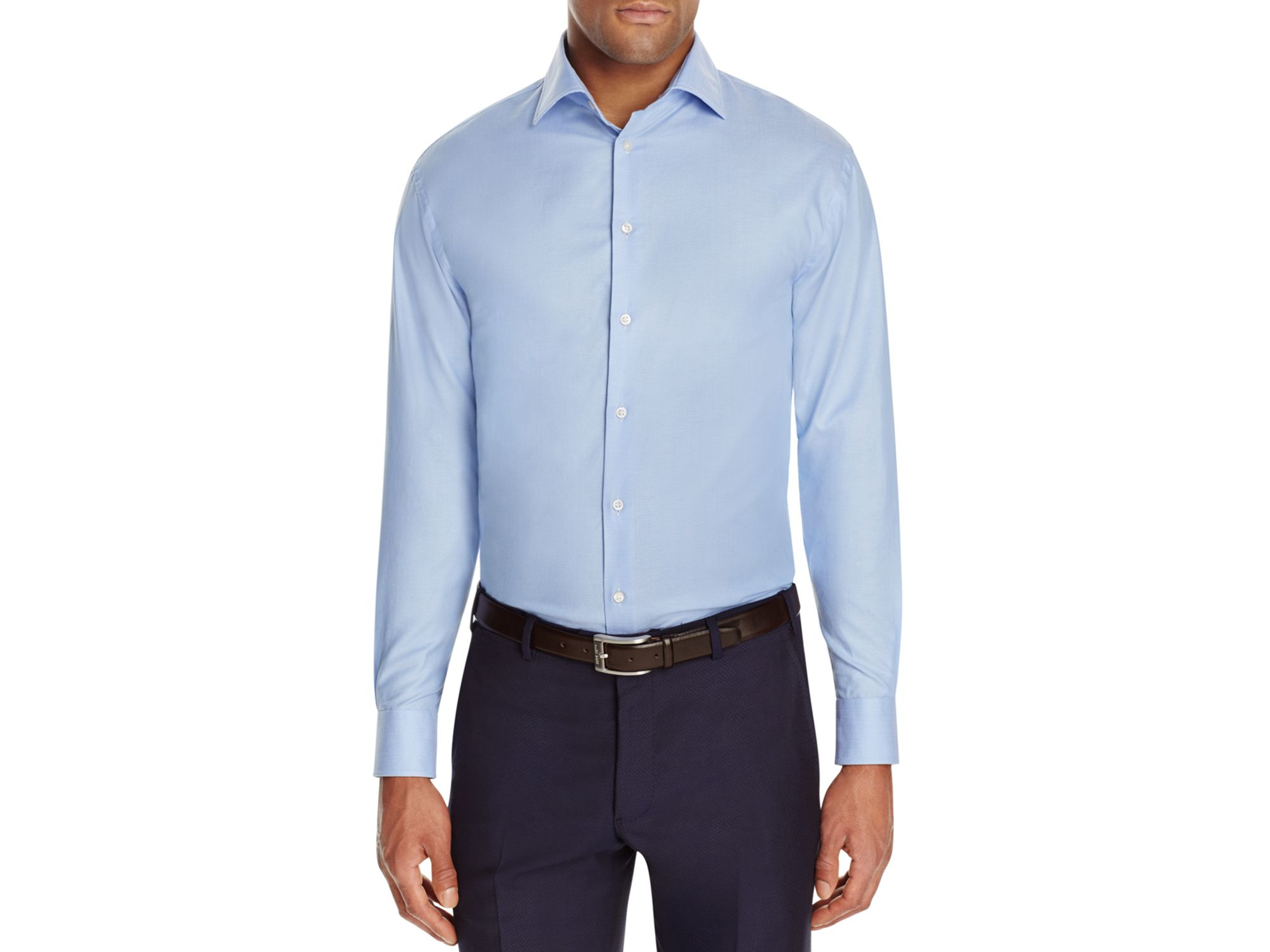 Armani Solid Regular Fit Button Down Shirt In Blue For Men