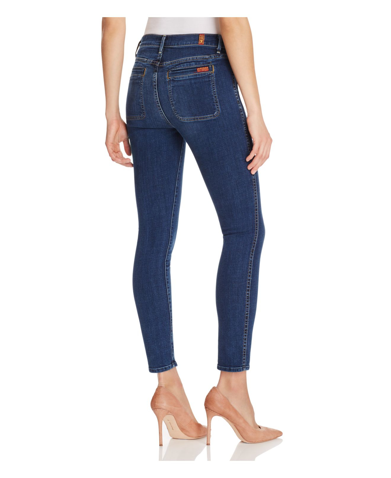 7 For All Mankind Denim Exposed Button Skinny Jeans In La Palma - Compare At $198 in Blue
