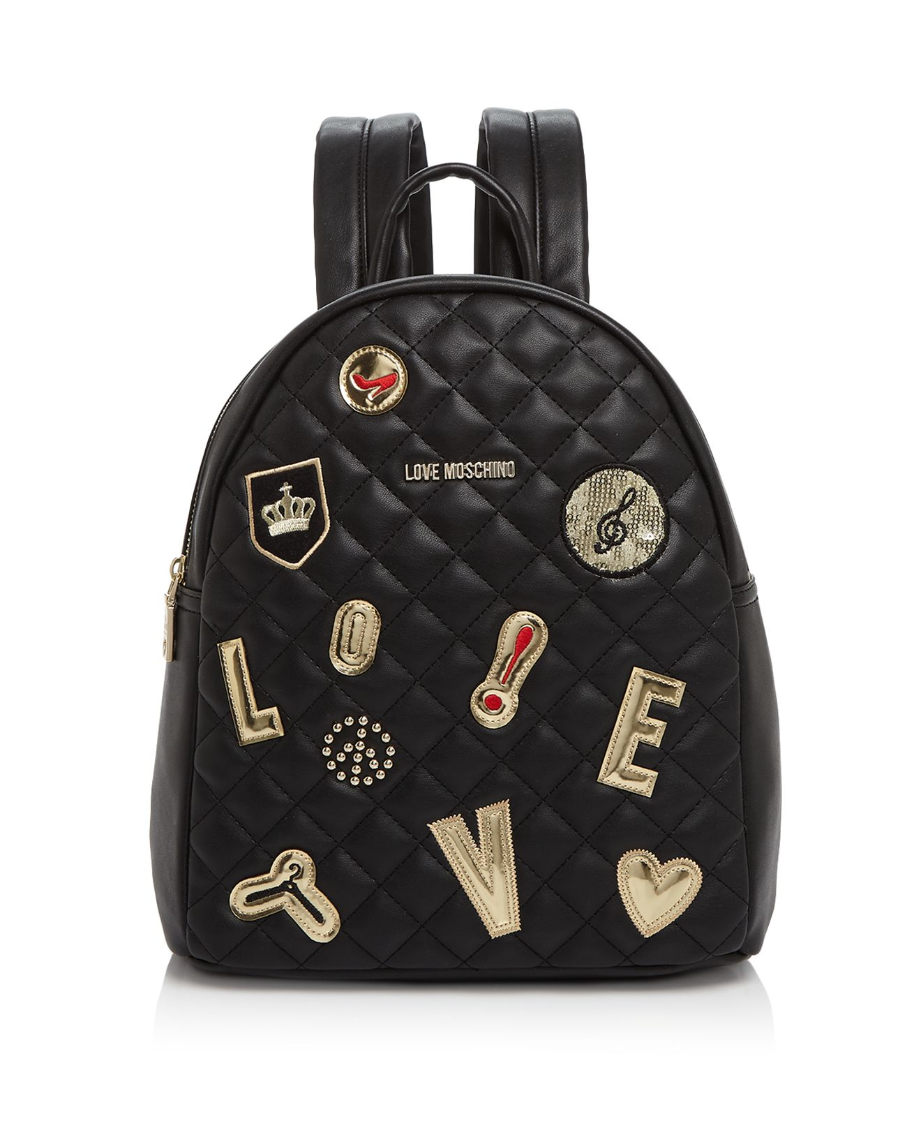 love moschino patchwork backpack in black lyst. Black Bedroom Furniture Sets. Home Design Ideas
