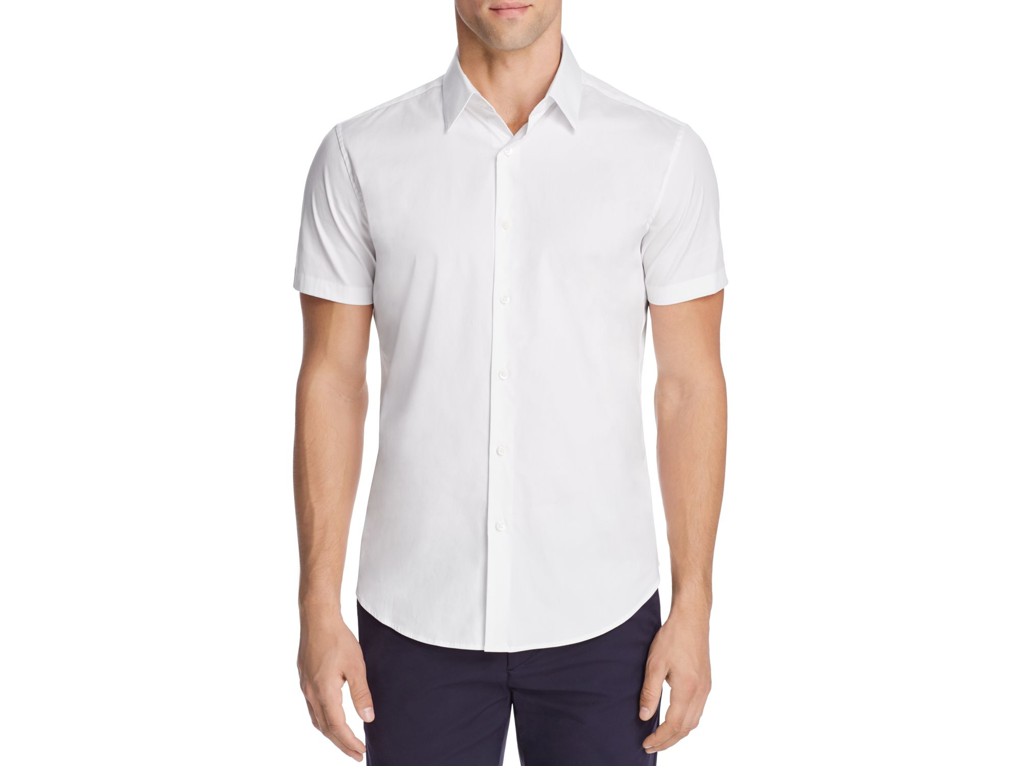 Theory sylvain slim fit button down shirt in white for men for Slim fit white button down shirt