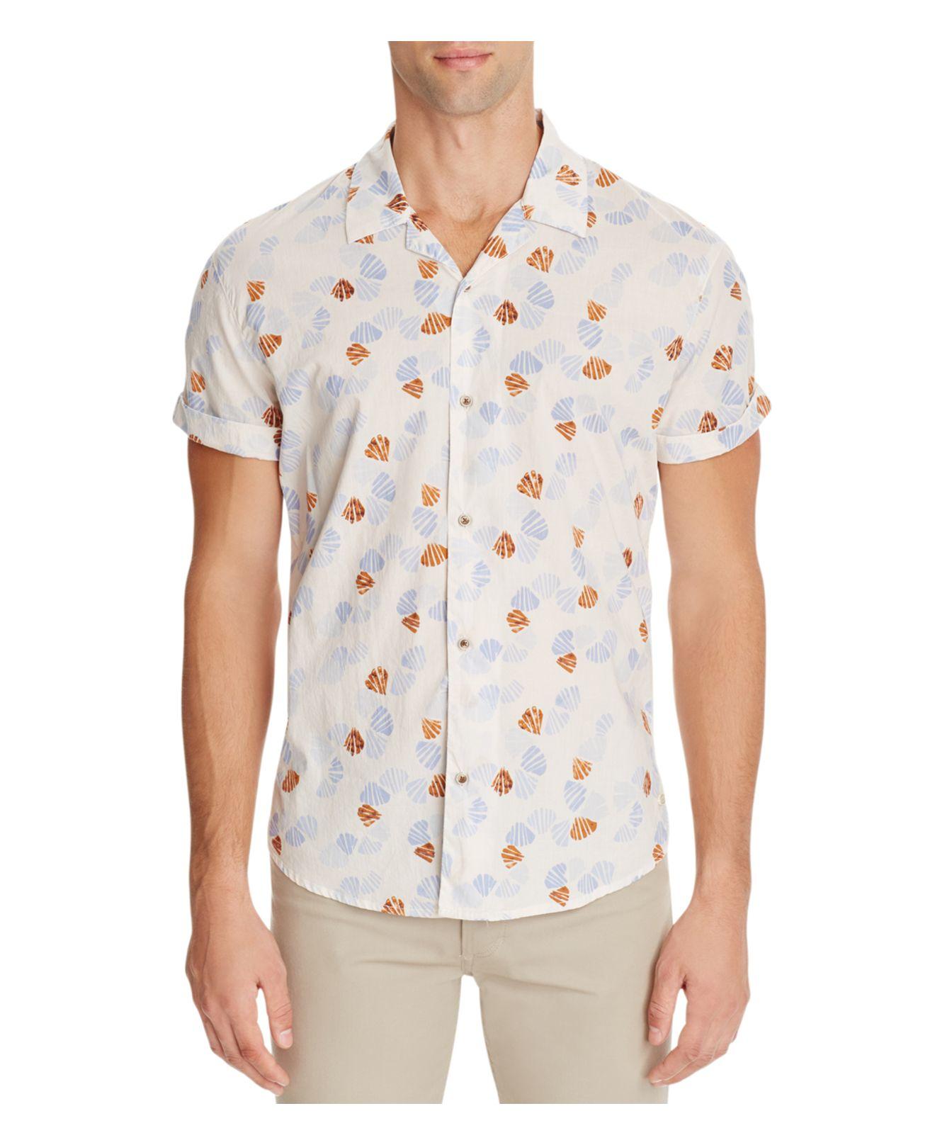 Scotch soda shell print slim fit button down shirt in for Slim fit white button down shirt