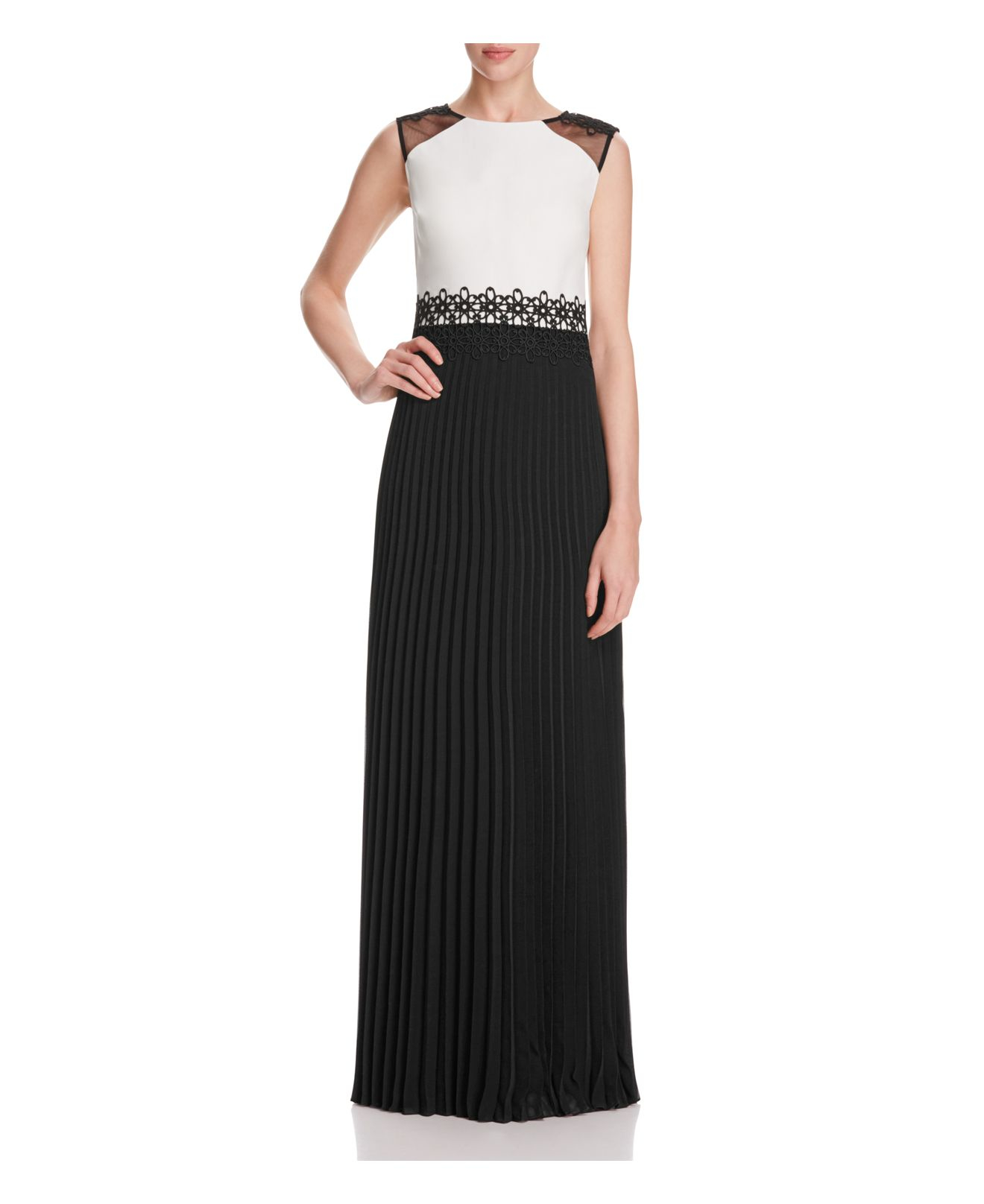 unger two tone pleated skirt gown in black black