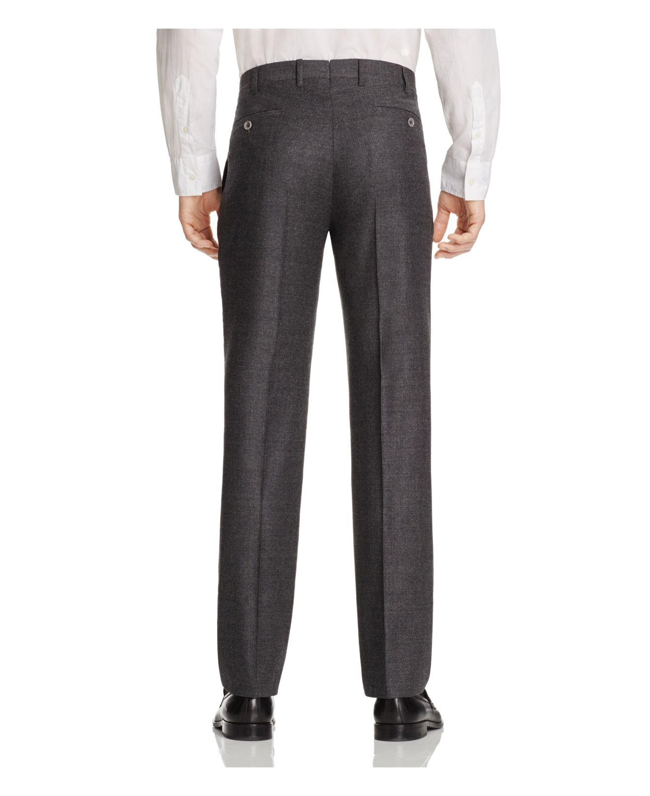 Valentini S150s Check Two Pattern Flannel Regular Fit Trousers - 100% Bloomingdale's Exclusive in Grey (Grey) for Men