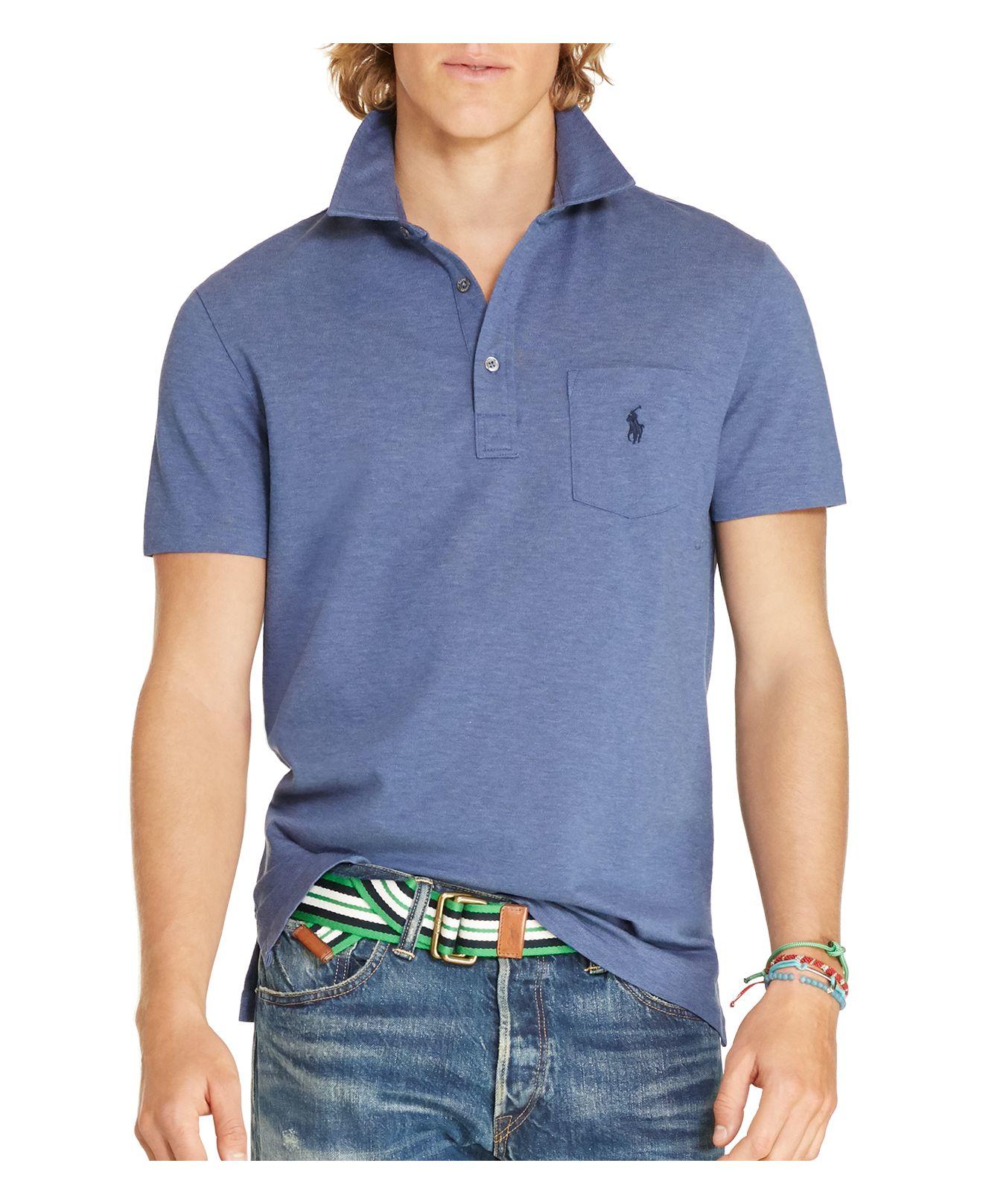 Polo ralph lauren stretch cotton mesh slim fit polo shirt for Stretch polo shirt mens