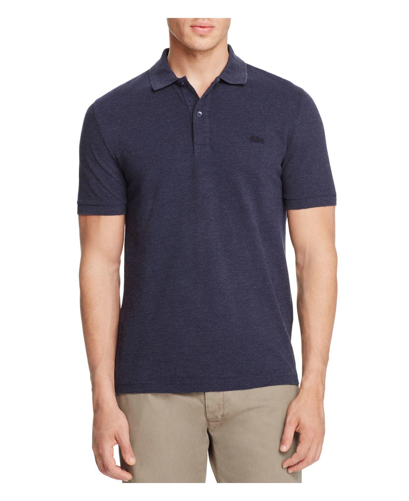 lacoste garment dyed slub knit slim fit polo shirt in blue. Black Bedroom Furniture Sets. Home Design Ideas