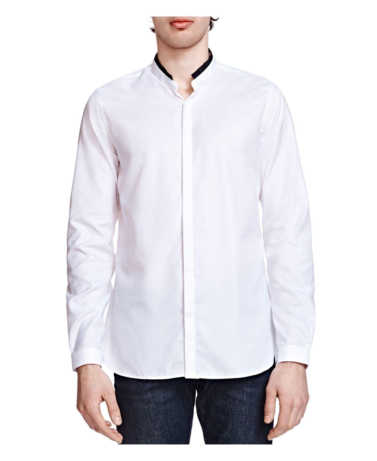 The kooples pique slim fit button down shirt in white for for Slim fit white button down shirt