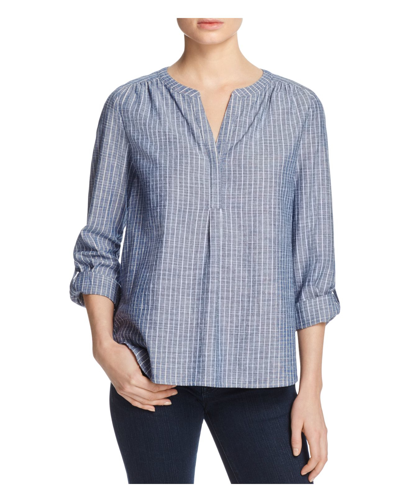 Lyst joie kalan stripe chambray top in blue for Chambray top