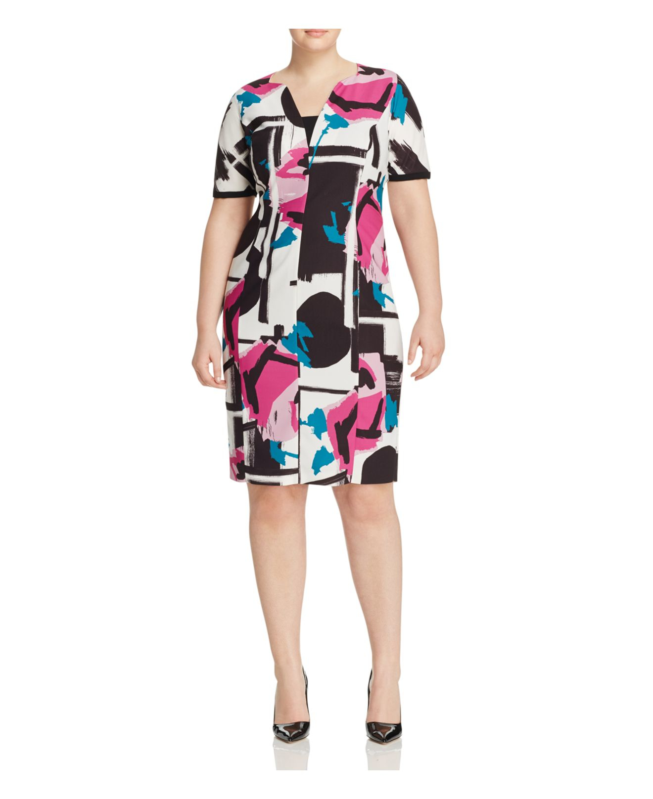 Lyst marina rinaldi dolce printed sheath dress for Marina rinaldi wedding dresses
