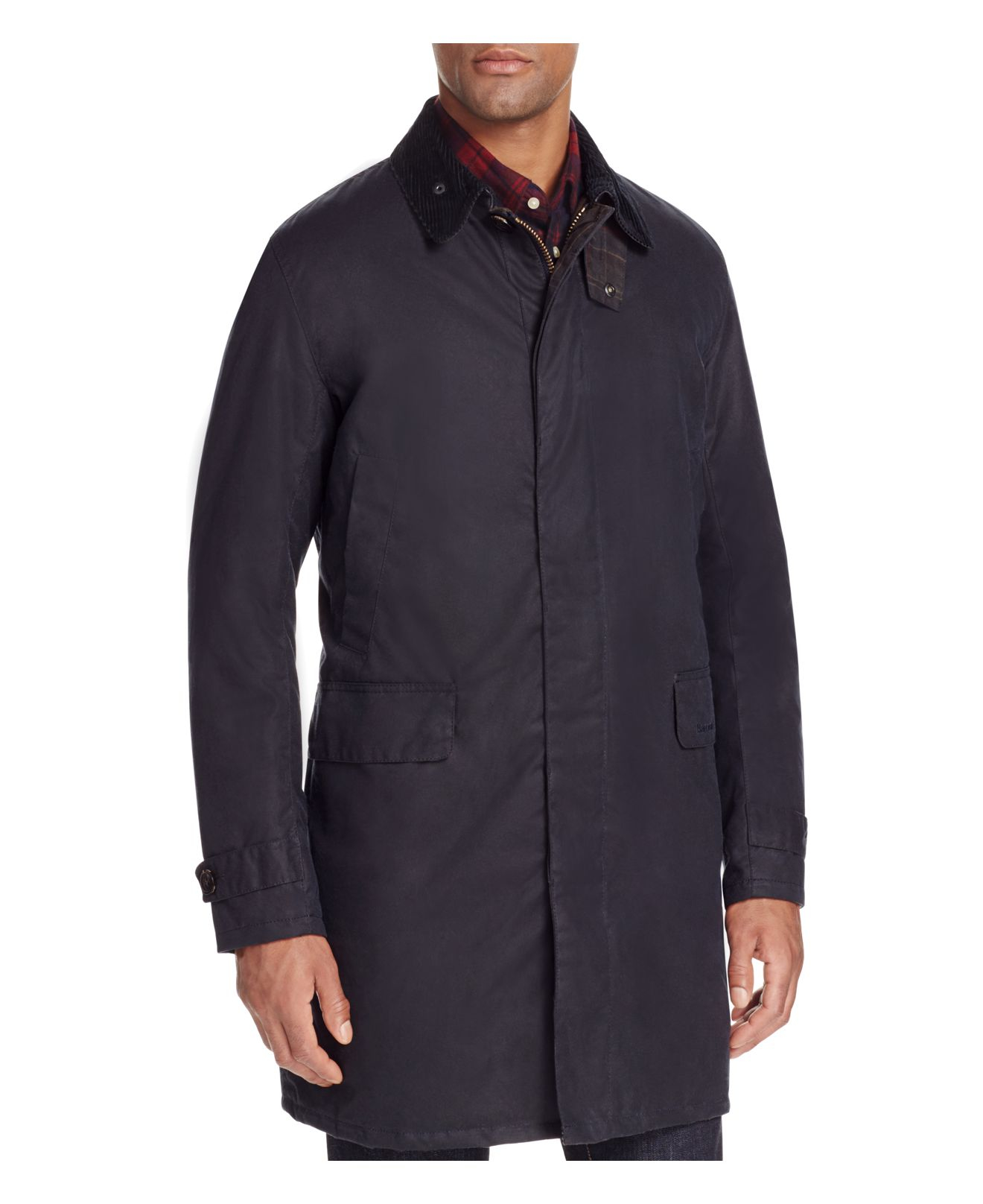 Barbour Nairn Three Quarter Length Waxed Jacket In Blue
