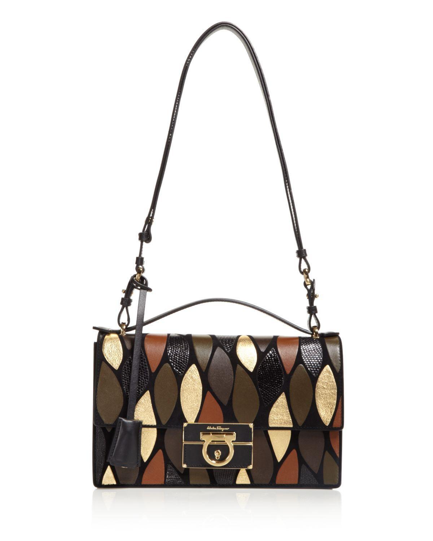 0deeedbb07c Lyst - Ferragamo Aileen Metallic Patchwork Shoulder Bag in Black