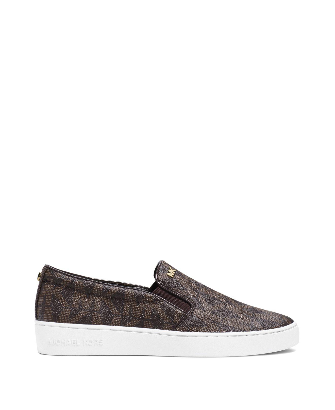 MICHAEL Michael Kors Leather Keaton Logo Slip-on Sneakers in Brown