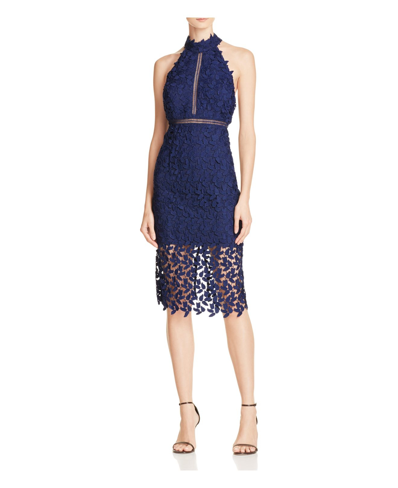Bardot gemma lace halter dress in blue lyst for Bloomingdales dresses for wedding guests