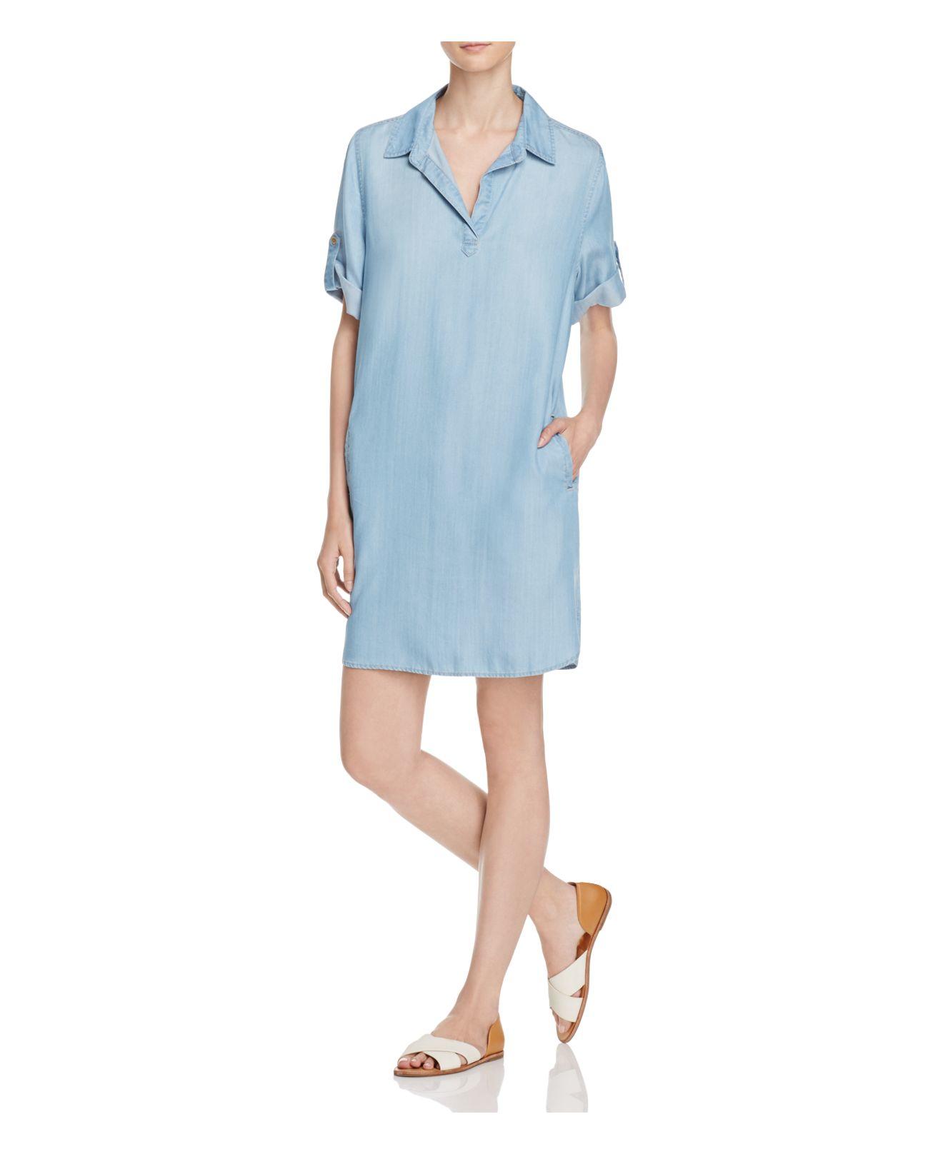 Lyst Aqua Chambray Shirt Dress In Blue