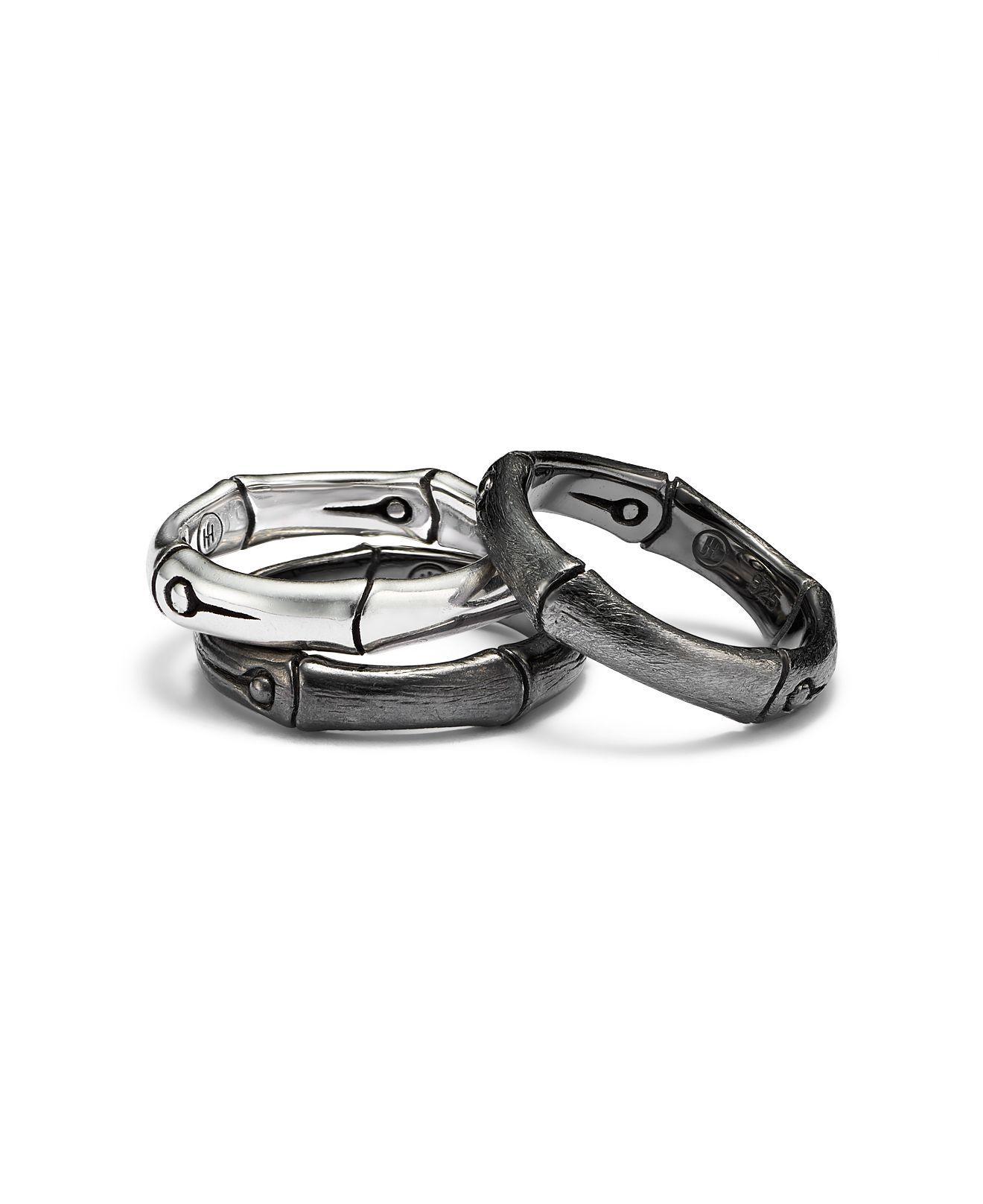 John Hardy Bamboo Sterling Silver Band Ring in Black (Metallic)