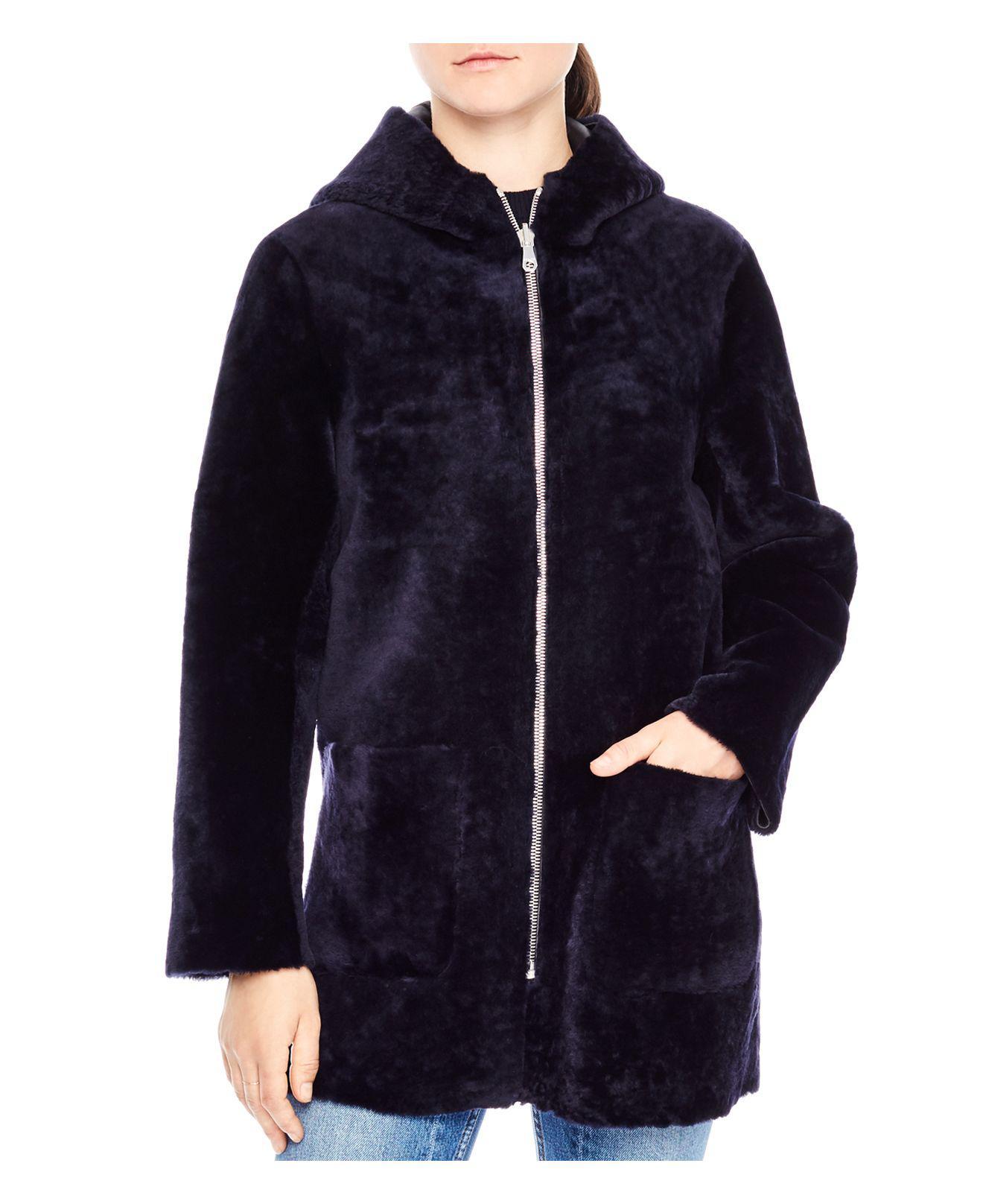 Sandro Penny Shearling Hooded Coat In Navy Blue (Blue)