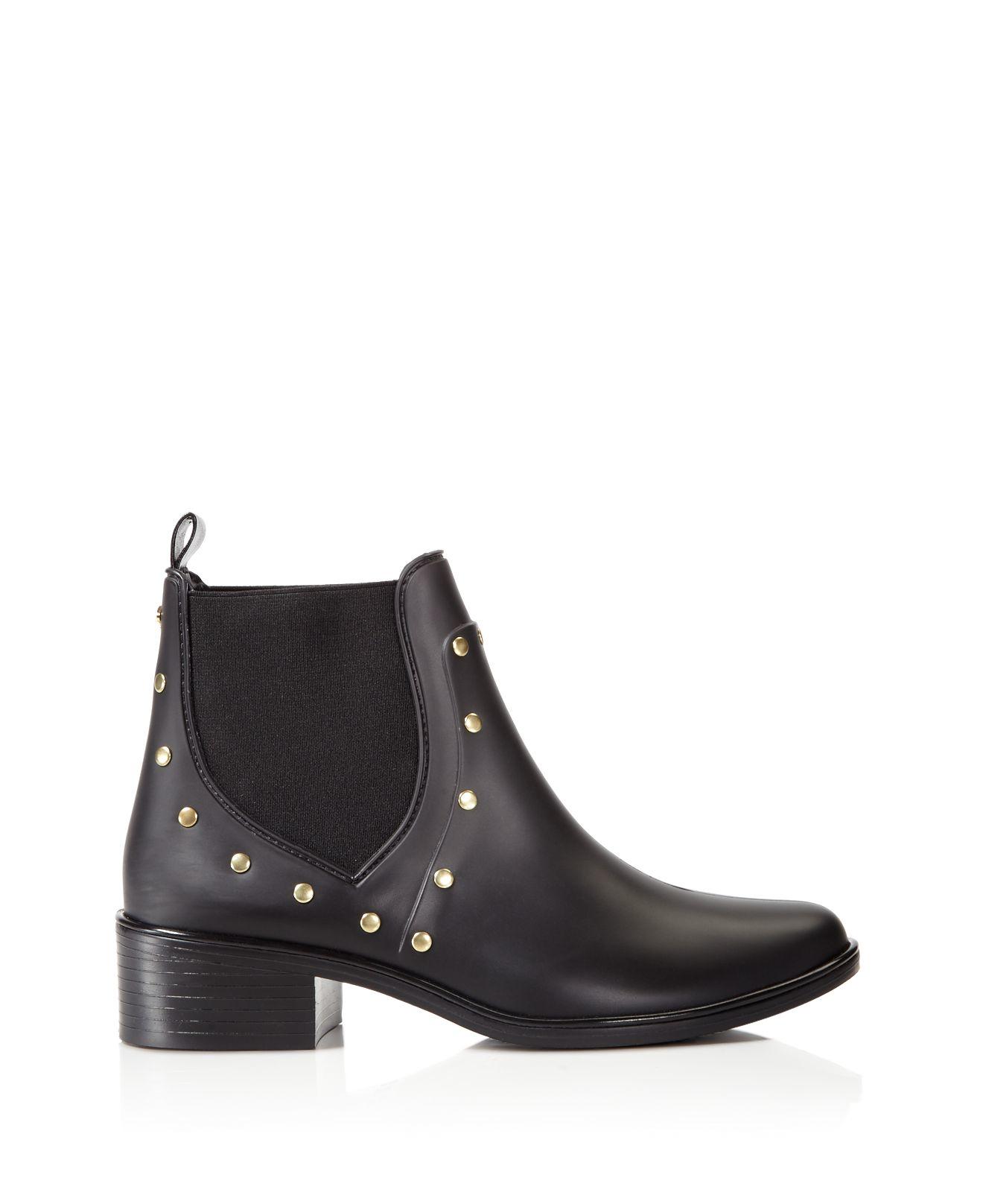 Kate Spade Rubber Salma Studded Rain Booties in Black