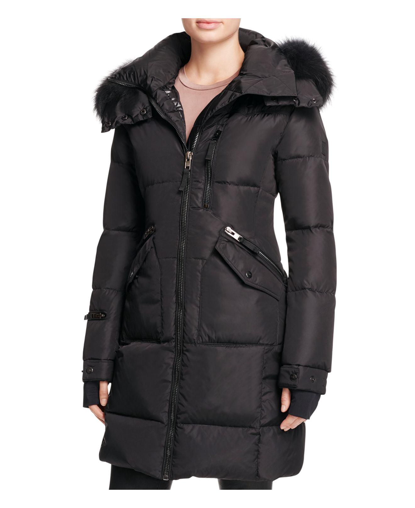 Sam Highway Fur Trim Long Down Coat In Black Lyst