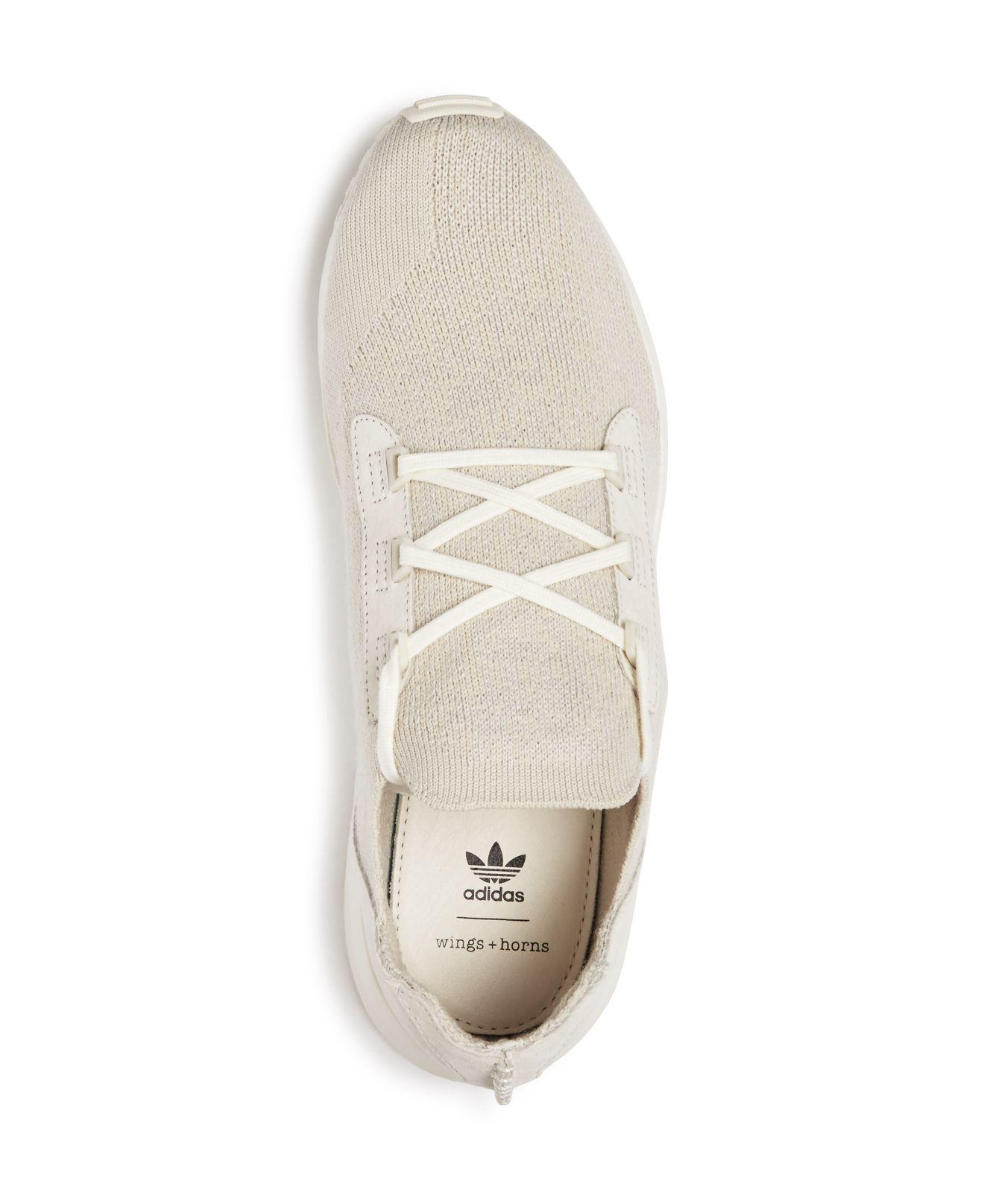 adidas Originals Leather X Wings And Horns Men's Zx Flux Adv X Lace Up Sneakers in White