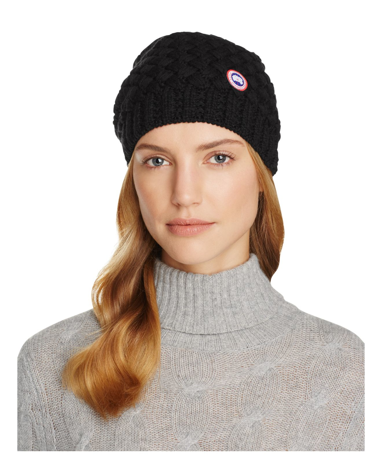 Canada Goose Basket Weave Slouchy Hat In Black Lyst