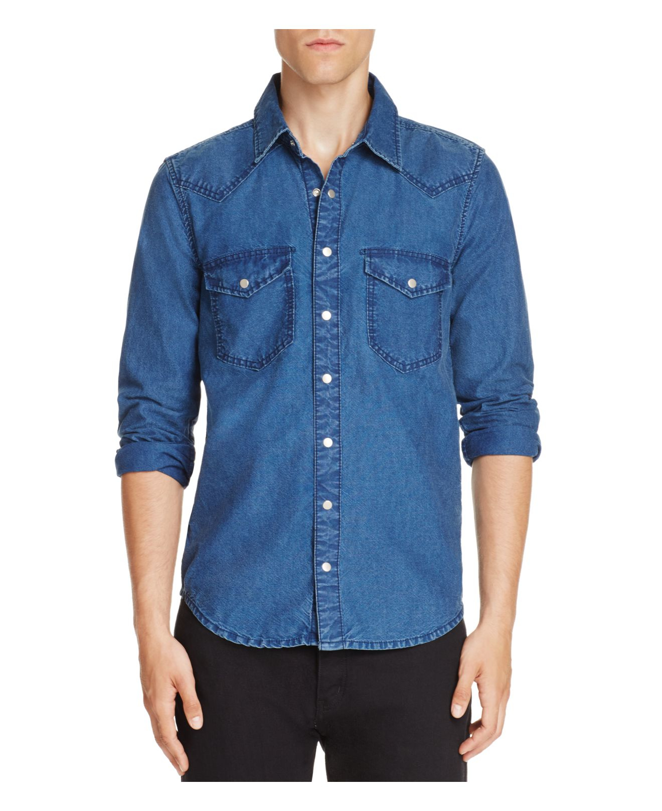 Homest Lyst Blank Nyc Denim Regular Fit Snap Front Shirt In