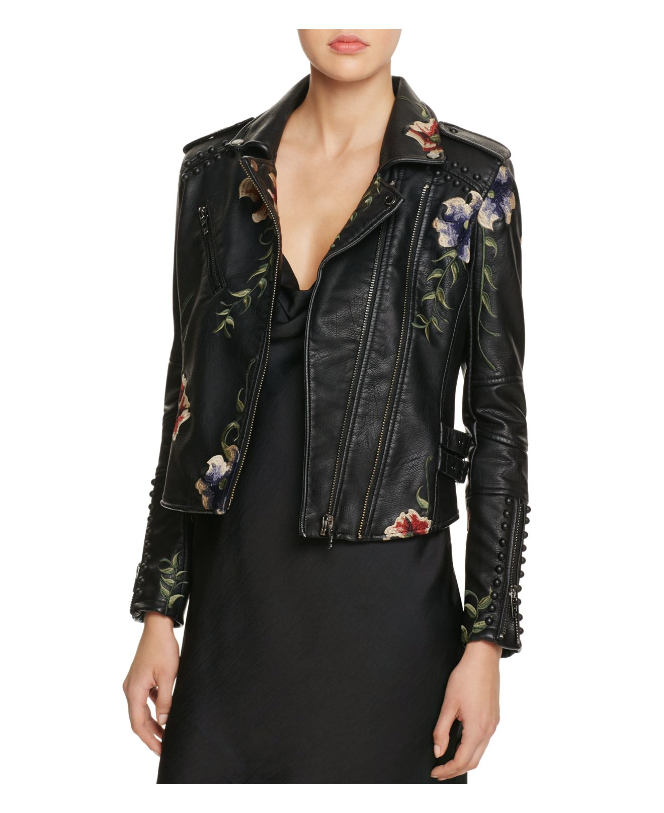 Blank Nyc Studded Embroidered Faux Leather Motorcycle Jacket In Black | Lyst
